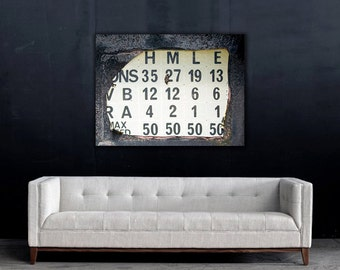 Industrial Art Print Numbers and Letters Sign Giclee Print on Canvas
