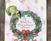 Merry Christmas Mouse Wreath Gift or Scrapbook Tags or Magnet #26