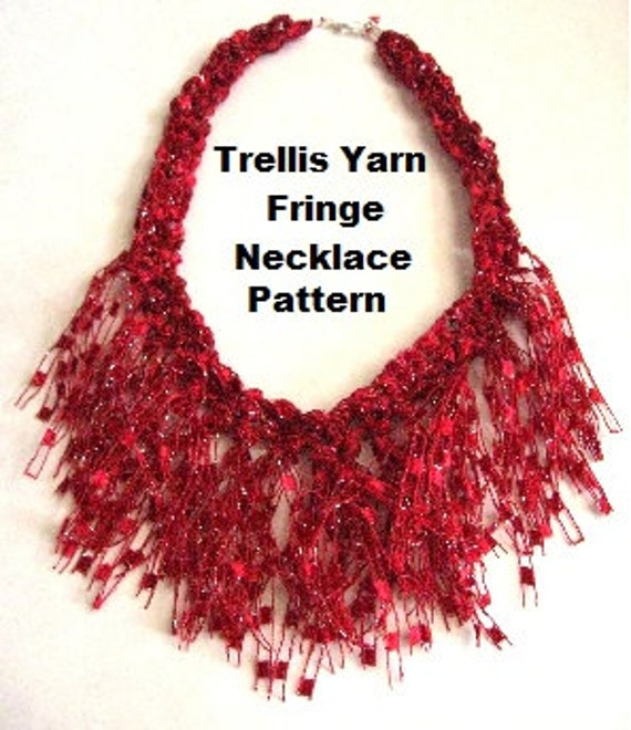 crocheted trellis ladder yarn fringe necklace pattern