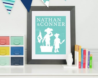 Personalized Silhouette Print // Giclée Art Print for Nursery / Child's Room // N-S05-1PS QQ6
