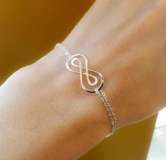 bracelet en argent double infini symbole huit bracelet. Black Bedroom Furniture Sets. Home Design Ideas