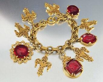 Victorian Charm Bracelet, Red Glass Intaglio Cameo Bracelet, Fleur di Lis, Gold Chain Link Bracelet, Vintage 1950s Revival Statement Jewelry