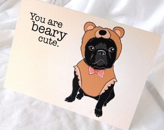 Frenchie Bear Greeting Card