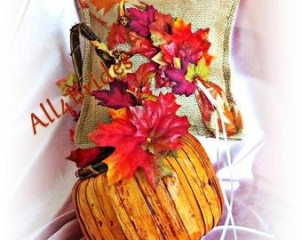 Fall weddings, Fall leaves ring bearer pillow and flower girl basket, burlap ring cushion and pumpkin flower girl basket Ready To Ship