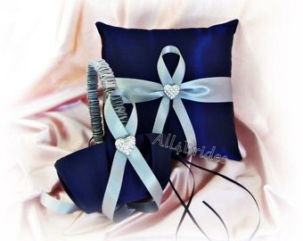 Navy blue and grey wedding ring bearer pillow and flower girl basket, ring cushion and basket set.