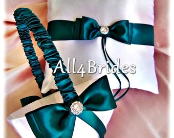 Teal Wedding Flower Girl Basket and Ring Bearer Pillow Set, Weddings Ceremony Accessories