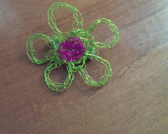 Crocheted wire flower pins