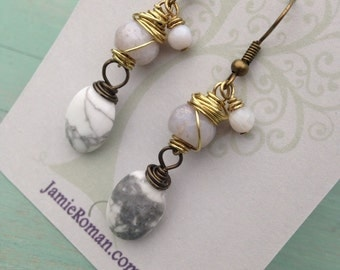 Antique brass wire wrapped howlite dangle earrings