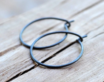 Small Oxidized Sterling Silver Hoop Earrings. Everyday Wear. Black. Grey. Gray. Oxidised. Eco.