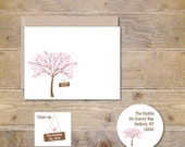 Wedding Thank You Cards . Bridal Shower Thank You Cards . Thank You Notes . Personalized - Cherry Tree Hanging Sign