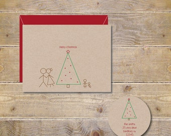 Christmas Cards . Holiday Cards . Personalized Christmas Cards - Sick Figure Christmas