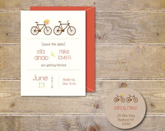 Wedding Save The Dates . Bicycle Save The Dates . Recycled Save The Date Cards  - I'll Follow You Anywhere