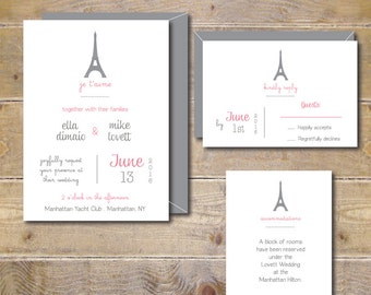 Wedding Invitations . Wedding Invites . Eiffel Tower Wedding Invitations . Paris . France - Je t'aime
