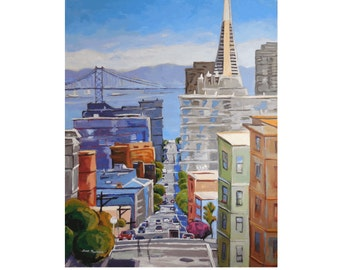 San Francisco Skyline TransAmerica Building Bay Bridge Oakland Painting Fine Art Print Urban Cityscape by Gwen Meyerson