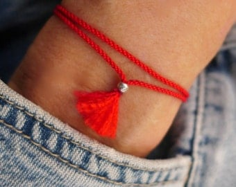 Red Silk and Cotton Thread Bracelet--Removable Tie-on--with Sterling Silver Lobster Clasp and Solid Silver Hill Tribe Beads