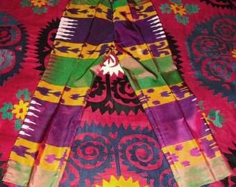 Amazing Vintage Iridescent Uzbek Silk Hand Loomed Ikat Cigarette Pants by Ralph Lauren sz 10
