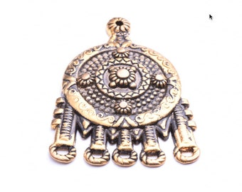 Focal Pendant Medallion with 5 drop connectors, 09632AG