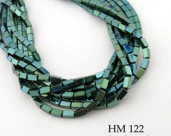 4mm Green Hematite Rectangle Tube Beads 4mm x 2mm (HM 122) 96 pcs BlueEchoBeads