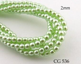 2mm Tiny Czech Glass Pearls Mint Green, Small Round (CG 536) 50pcs BlueEchoBeads