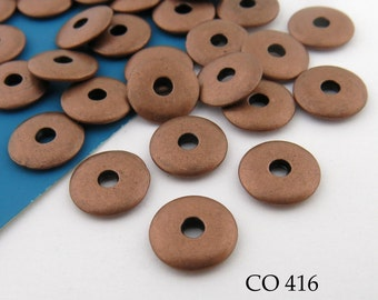 10mm Matte Copper Disk Beads Spacer Beads (CO 416) 12 pcs BlueEchoBeads