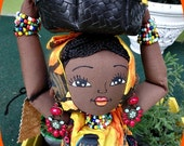 OOAK African cloth doll w/basket 19 inches long