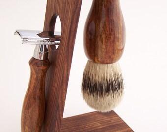 Chechen Wood 24mm Silvertip Badger Shaving Brush, DE Safety Razor Razor and Stand Shaving Set (Handmade in USA)  C1