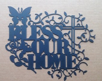 Bless Our Home with Cross Metal Wall Art  (M 15)