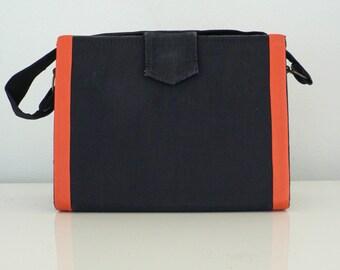 vintage 1950s blue purse amber  lucite frame  / 50s box purse / mid century evening bag