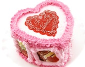 "Valentine Fake Heart Cake Vintage Valentine Images READY TO SHIP Approx. 7.25""w x 4.5""h Fab Holiday Decor~ First on Etsy! Valentine Decor"