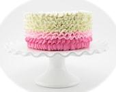 Fake Ruffle Cake Hot Pink, Bubble Gum Pink & Ivory Ruffle Cake Fab Kitchen Decor, Smash Cake Prop, First Birthday Prop, Valentine's Day Prop