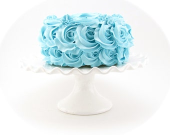"Rosette Fake Cake Blue Frosting Approx. 6.75""w x 4""h Fab Photo Prop, First Birthday Decor, Shabby Chic Decor for your Kitchen"