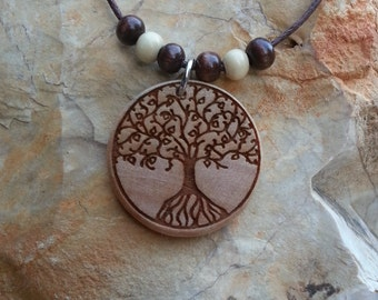 Round Tree of Life Laser Engraved Wood Necklace