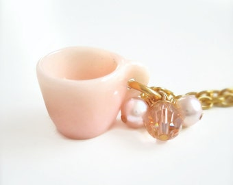 Peach Miniature Tea cup Necklace - Little Cup of Spring - Tea Jewelry
