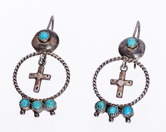 Early Zuni Turquoise Earrings - 40s/50s Hand Made Hooks - Cross & Snake Eye