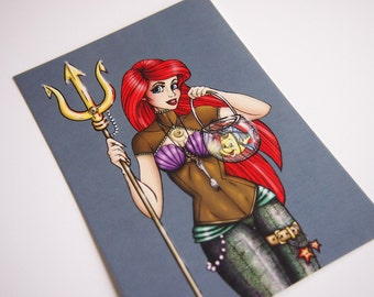 Steampunk Ariel The Little Mermaid Postcard