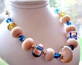 SALE, Coral Pink Lampwork Bracelet, Cobalt Blue Bracelet, Swarovski Crystals, 14k Gold Filled Bracelet, Luxe Gift For Her, Ready To Ship