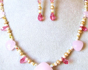 SALE, 40% OFF, Pink Chalcedony Necklace & Earrings, Swarovski Crystal Drops, Gold Filled, Handmade Gift Set, Ready To Ship