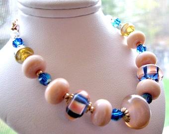 SALE 25% OFF, Coral Pink Lampwork Bracelet, Cobalt Blue Swarovski Crystals, 14k Gold Filled Bracelet, Mom's Gift Ready To Ship