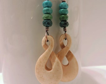 Layered Blue, Green and Brown Chinese Turquoise with Carved Bone Twisted Loops