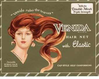 Vintage 1940s Hair Net Venida in Original Package Great Graphic of Woman's Face and Hair