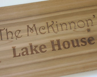 Personalized Cedar Sign Laser Engraved Wood Sign Custom Engraved Sign Lake House