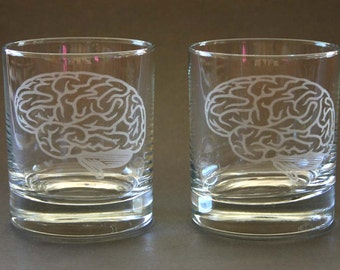Brain Etched Rocks Glasses Engraved Brain high ball glass