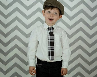 Brown Plaid Necktie Boys, Baby, Toddler Dressy Accessory