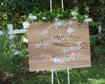 "SALE- Ready to Ship! 24 x 36"" Plywood ""Inspiration Awaits"" Hand painted Sign. Craft or Sewing Room. Floral detail. Inspirational Sign."