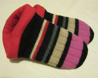 Striped Wool Sweater Slippers with Red Lining - Ladies Small
