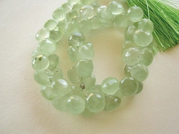 Green Prehnite Gemstone. Faceted Onion Briolettes, 7.5mm. Semi Precious Gemstone. Packet of 2 ... (1PRE) Reduced from 7.90