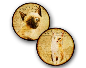 Digital Download - Cats - Printable 12mm Round Circles with images of Rescued Cats - Clip Art - INSTANT DOWNLOAD