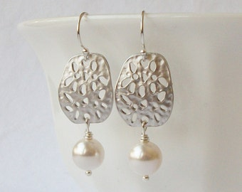 White Pearl Silver Dangle Earrings