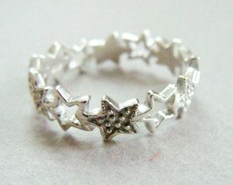 Custom Order for Ded - Sterling Silver Star Ring - Size 6.5