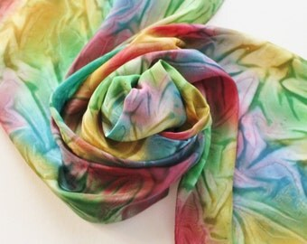 Hand Painted Silk Scarf - Handpainted Scarves Rainbow Slate Navy Blue Emerald Kelly Green Dark Red Gold Yellow Mustard Pride Dyed
